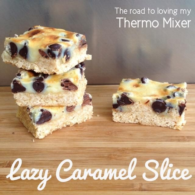 Lazy Caramel Slice 60g desiccated coconut 90g self raising flour 60g brown sugar 80g butter, cubed 80g or 1/2 cup of dark choc chips 200g sweetened condensed milk