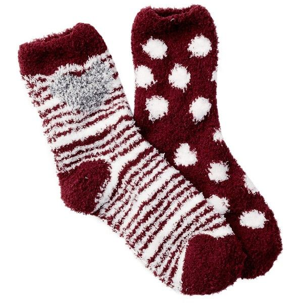Free Press Pattern Fuzzy Socks - Pack of 2 ($7.97) ❤ liked on Polyvore featuring intimates, hosiery, socks, burgundy london heart, patterned socks, padded socks, heart socks, patterned hosiery and fuzzy socks