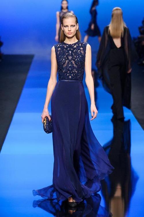 Ellie Saab Navy Lace Dress