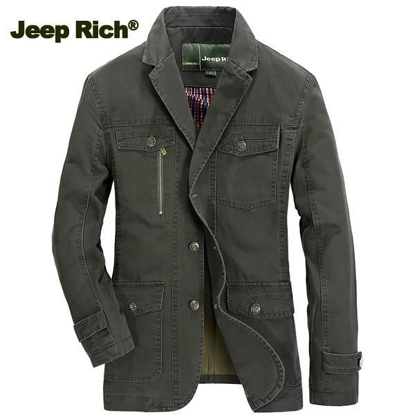 Jeep Rich® Men Cotton Multi-pocket Single-breasted Casual Business Blazers Suit Jacket Coat at Banggood