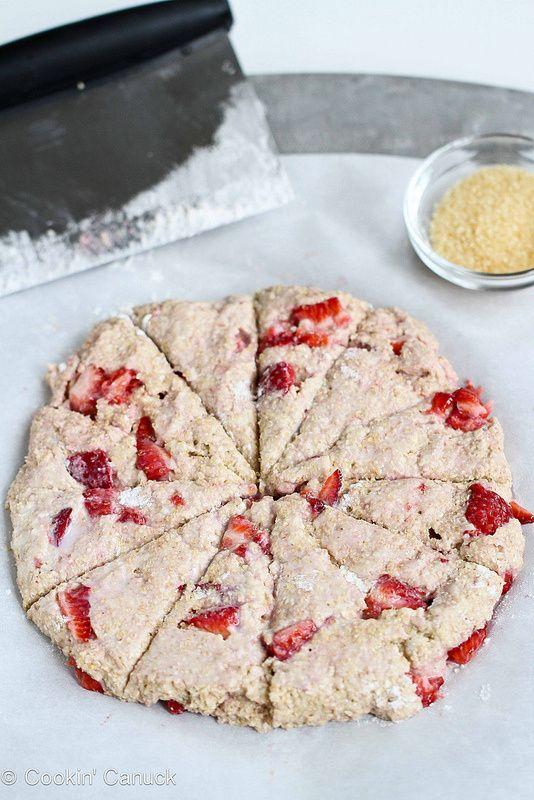 Strawberries & Cream Scone Recipe for Mother's Day {Healthy} | cookincanuck.com #recipe