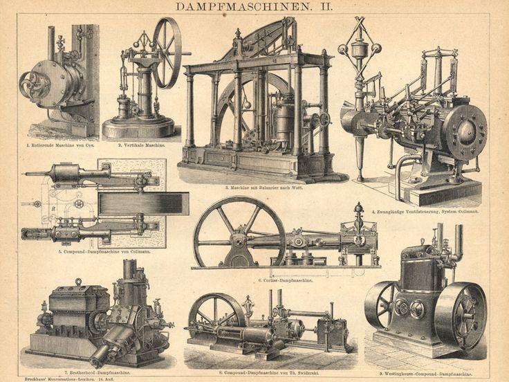 Vintage Schaubilder - v. 1892 - DAMPFMASCHINEN Holzstich  - ein Designerstück von ART11 bei DaWanda