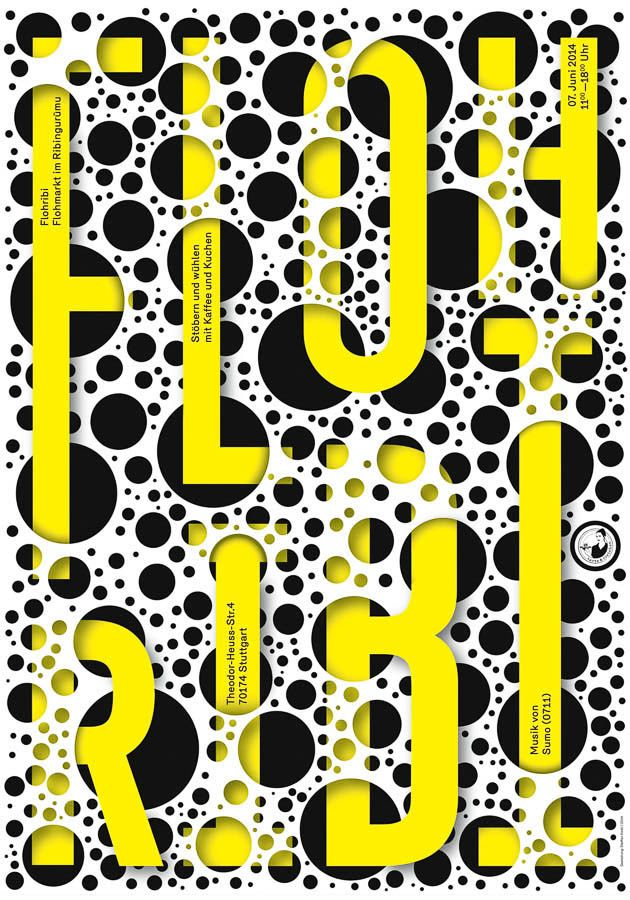 Steffen Knoell / Flohribi #graphic #design #print #poster #holes #typography