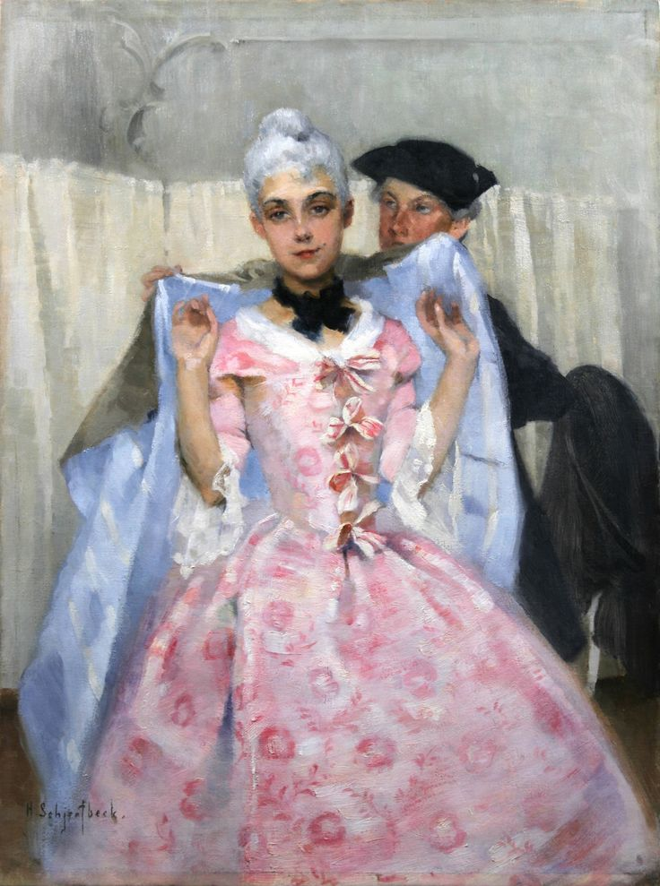 "Helene Schjerfbeck ""Masquerade Picture, Rococo Lady"" (1887) Ostrobothnian museum, Karl Hedman collection, Vaasa (photo credit Ostrobothnian museum/Erkki Salminen) to know more about this picture https://arthotspots.wordpress.com/2015/04/25/neo-rococo-and-the-north-reviving-the-rococo-and-the-enlightenment-eras-in-finland/"