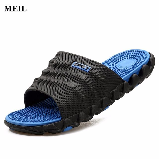 Daily Price $9.34, Buy 2017 Summer Slippers Men Casual Sandals Leisure Soft Slides IVI Plastic Indoor Acupoint Massage Slippers for Men