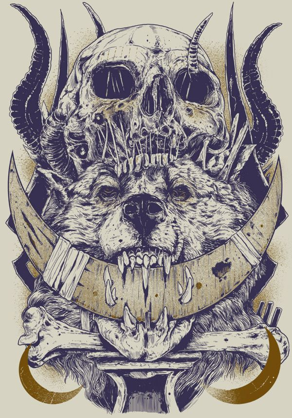This is holy crazy!! By Rafal Echterowicz #illustration #skulls