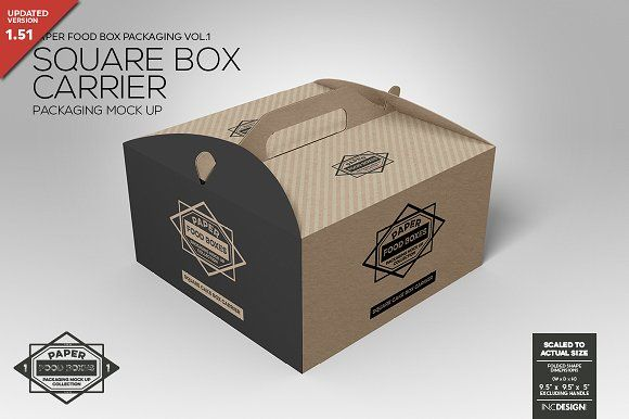 Square Cake Carrier Packaging MockUp - Product Mockups