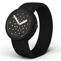 Black Face and Black Strap Fullspot Crystal O clock wristwatch- made in Italy by Fullspot