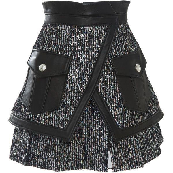 Leather Trimmed Mini Skirt | Moda Operandi ($10,700) ❤ liked on Polyvore featuring skirts, mini skirts, short mini skirts, genuine leather skirt, peplum mini skirt, leather skirts and leather peplum skirt