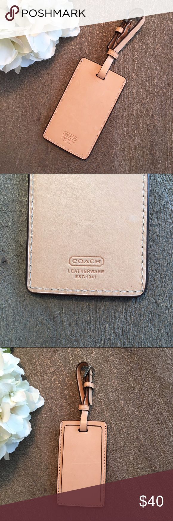 Coach luggage tag- leather Genuine Coach leather luggage tag Coach Accessories
