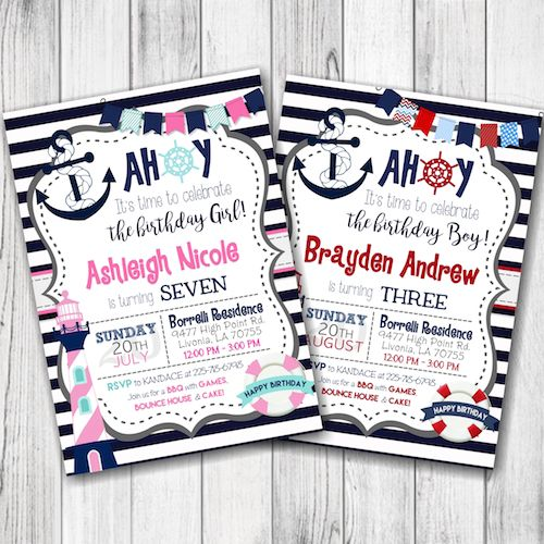 Nautical Birthday Party Invitation – Little Sailor Birthday Party Invitation – Ahoy Sailor Birthday Invitation – Boy, Girl, Siblings, Twins – Double Sided –