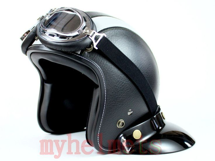 casque jet r tro vintage noir gris cuir moto scoot scooter taille m l ebay moto. Black Bedroom Furniture Sets. Home Design Ideas