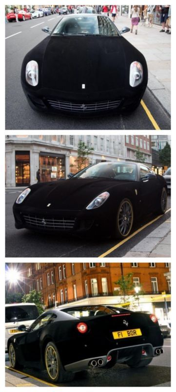 A Velvet car!? Check out the infamous velvet black Ferrari 599 GTB nicknamed the 'Furrari' Unbelievable scenes this way...
