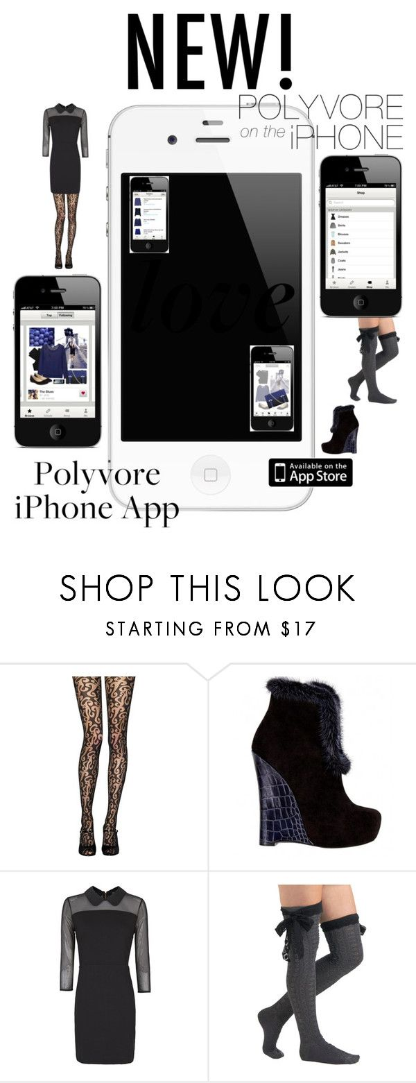 """""""Polyvore iPhone App - Love!"""" by cigoehring ❤ liked on Polyvore featuring Jonathan Aston, Alejandro Ingelmo, MANGO, Betsey Johnson, lace tights, black and white, tassel boots, black, special occasion dresses and little black dress"""