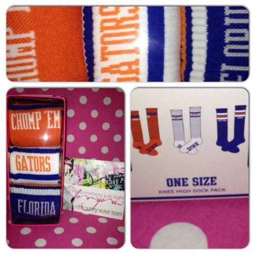 New Victoria's Secret Pink Gators Florida White Blue Orange Knee High Socks | eBay