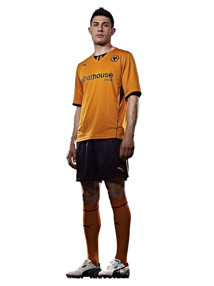 Danny Batth modelling the 13/14 Wolves home kit from PUMA