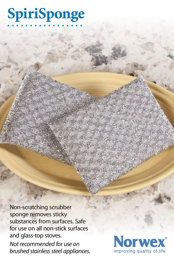 Norwex Spirisponge:  Used for very dirty areas in the home.  Use for cleaning: * Pots and Pans and Teflon® cookware * Everyday dishes * Stainless steel sinks * Shower and bath taps * Vegetables * Non stick pans - use with caution, may remove the finish from some non-stick surfaces * To remove sticky tape and label residue. Removes rust spots and lime scale easily with the Cleaning Paste or Norwex Descaler. Always test in an unseen area if concerned about scratching.