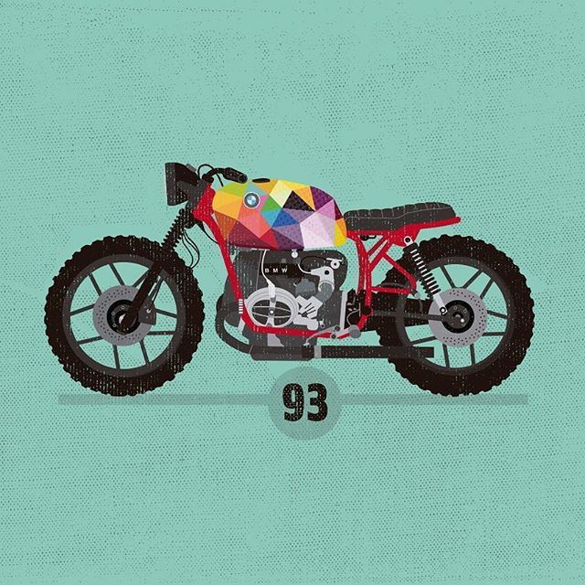 Just A R T ! ! >> #crd93 by @caferacerdreams under @lefthandedgraphic eyes. Love it!! #theartbike #okuda #crd #caferacerdreams #ilustration #bmw #art #r65 #motorcycle