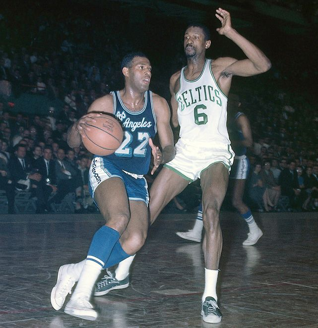 Elgin Baylor and Bill Russell  1963  Hall of Famer Elgin Baylor dribbles up court against Russell in 1963. Russell defeated Baylor's Lakers for seven of his 11 NBA championships.
