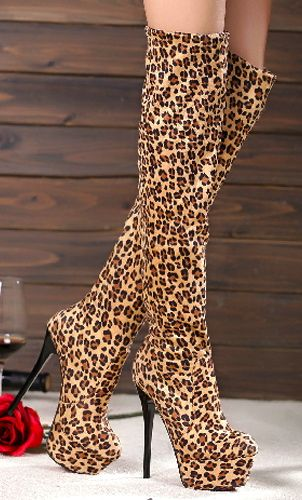 Sexy Leopard Print Stretch Suede Knee-High High Thin Heels Boots For Lady