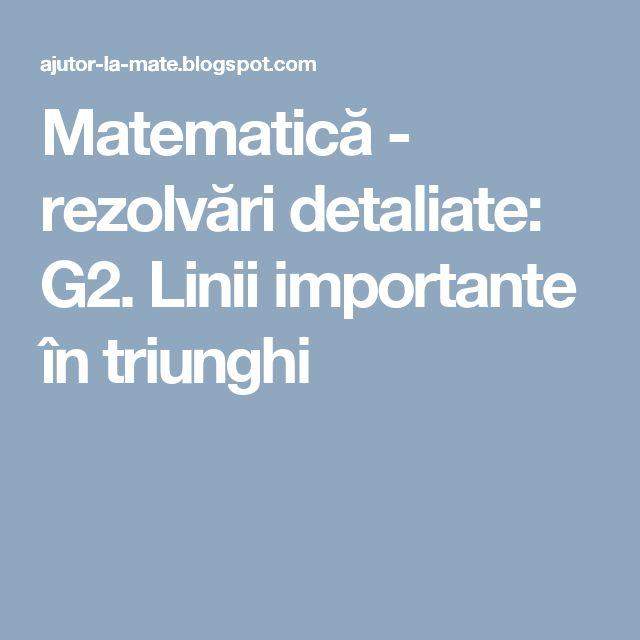 Matematică - rezolvări detaliate: G2. Linii importante în triunghi