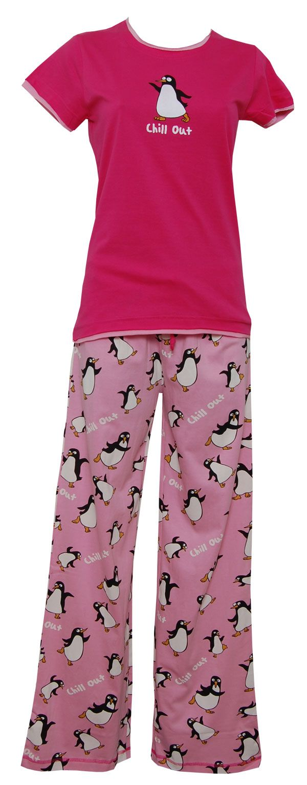 Lazy One Chill Out Penguin Womens Fitted Shortsleeve PJ Set #SleepyHeads www.sleepyheads.com