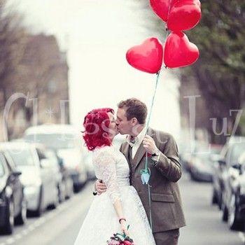 50 Globos de Corazón ROJO y BLANCO 38 cm - Globos de Luz | Artículos y detalles para bodas y eventos | Ideas originales para fiestasGlobos de Luz