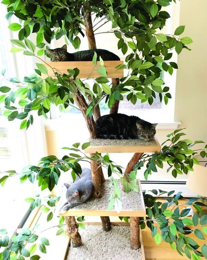 There Is A Company Selling Indoor Pet Treehouses That Look Like Actual Cats On Catnip Diy Cat Tree Cat Tree Cat Diy