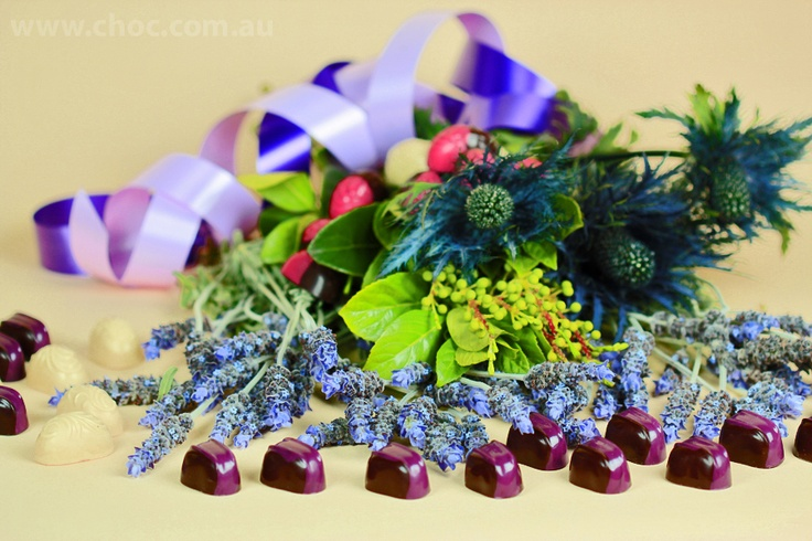 Lavender and Chocolate  Fardoulis Chocolates Chocolate Plato Decorate your dinner table  www.choc.com.au