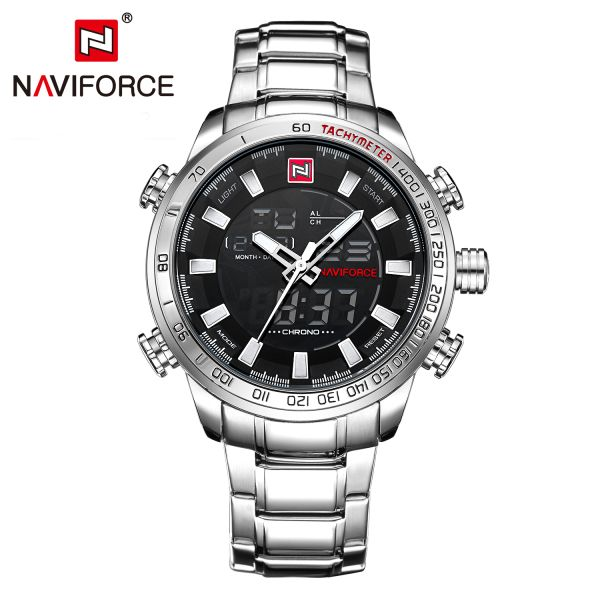 Watches Men Naviforce Brand Fashion Men Military Sports Watches Men's Quartz LED Digital Hour Clock Male Full Steel Wrist watch-in Dual Display Watches from Watches on Aliexpress.com | Alibaba Group