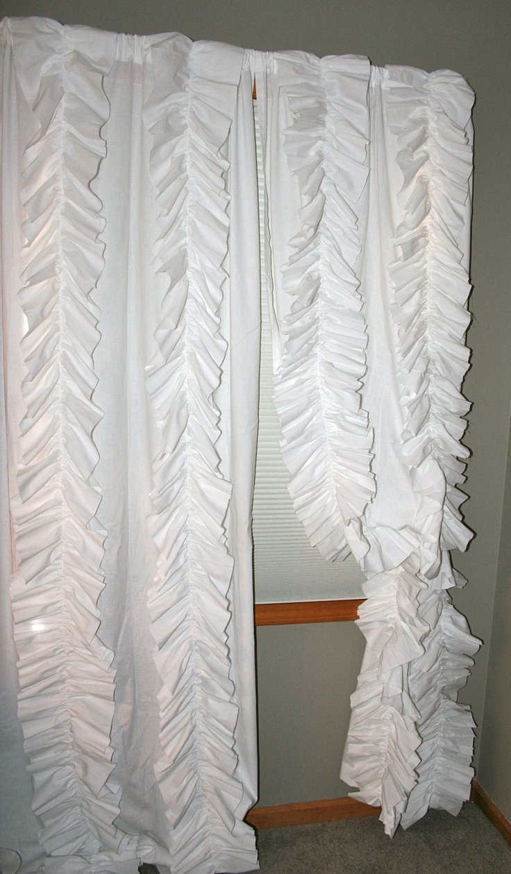 Anthropologie Inspired Ruffled Panel Curtain Unlined Cream