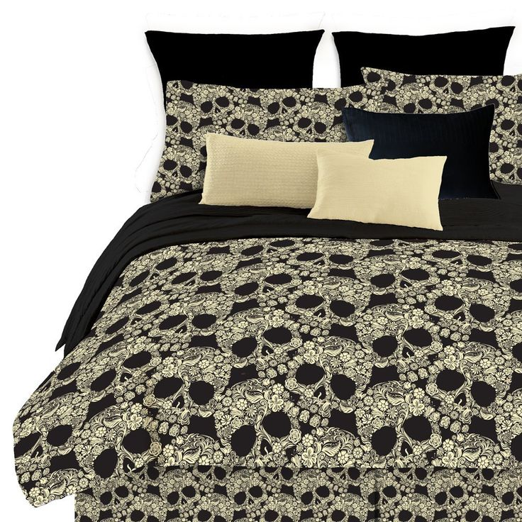 Amazon.com: Street Revival Flower Skull Queen Comforter Set, Multi: Home & Kitchen