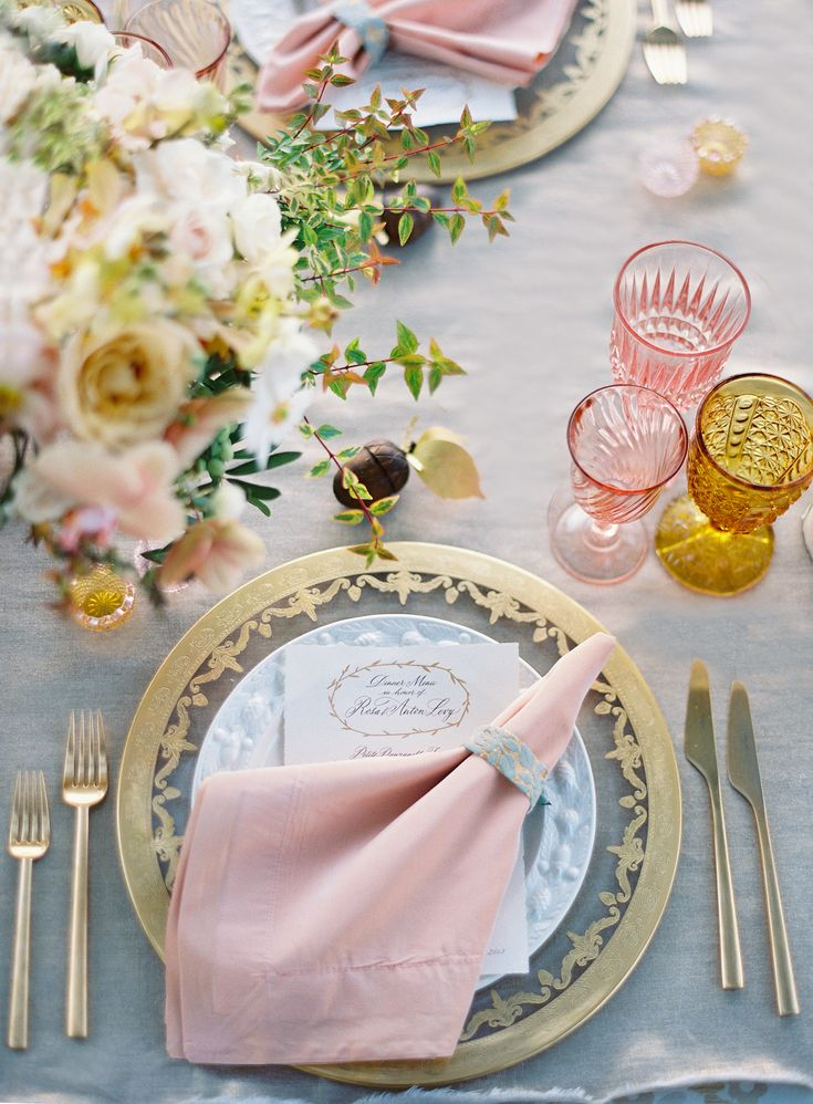 Spring! Lovely soft pink, gold and white. Could be a Spring table, a baby shower, a soft valentines table, Easter...