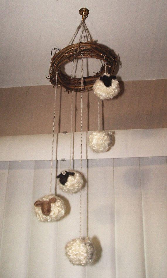 Needle Felt Sheep Mobile w/5 Cascading sheep made with Shetland wool