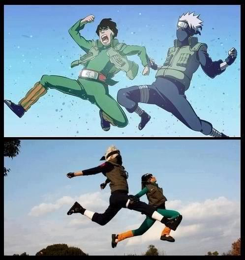 Kakashi & Gai from Naruto. I....have no words. Cosplay