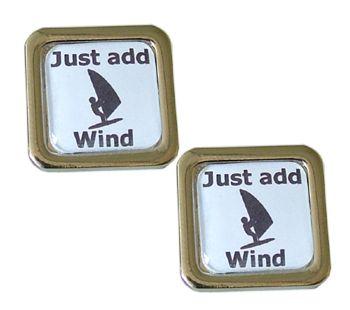 Just Add Wind - Wind surfing Cufflinks - Work the wind & skim across the waves