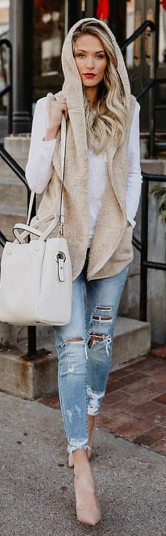 #winter #outfits beige vest with white shirt and blue denim jeans outfit