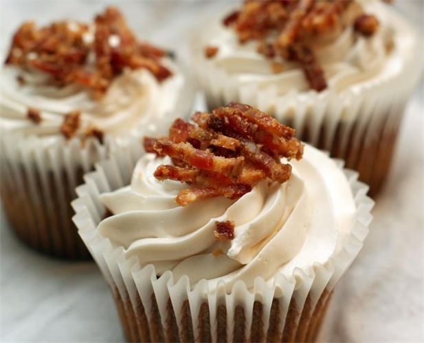 ... bacon, topped with maple buttercream frosting and garnished with