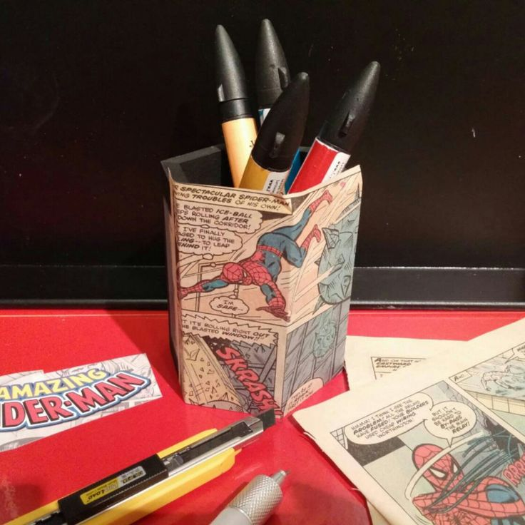Working on a custom Spiderman pencil holder, made with real vintage comic books ordered by a loving mother for her son, down in beautiful, peaceful New Zealand !