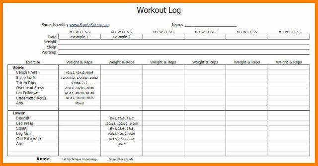 Workouts Log Templates Printable In Pdf Workout Log