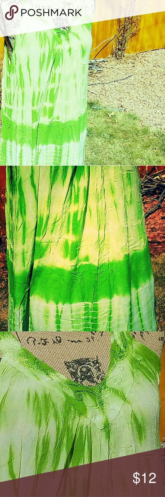 Green tunic tye dye! Pretty green embroidery trimming, sleeveless, can be worn as a dress or with leggings, super comfy, excellent condition Dresses Midi