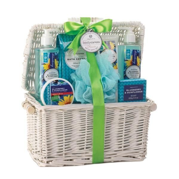 Don't let the summer slip away! Brighten any day with the luscious scent of blueberries and sunflowers from the spa-worthy bath essentials all this woven basket