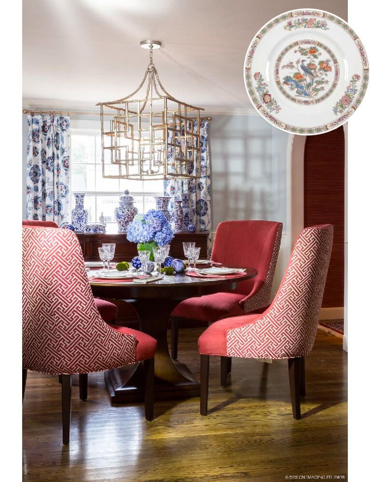 Red And Blue Chinoiserie Dining Room By Casey Timm At Studio C Interiors Asian Inspired