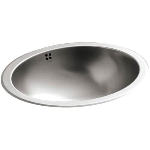 Kohler K-2609-SU Bachata 17-1/8 Luster Stainless Steel (Silver) Drop-in / Undermount Bathroom Sink With Overflow