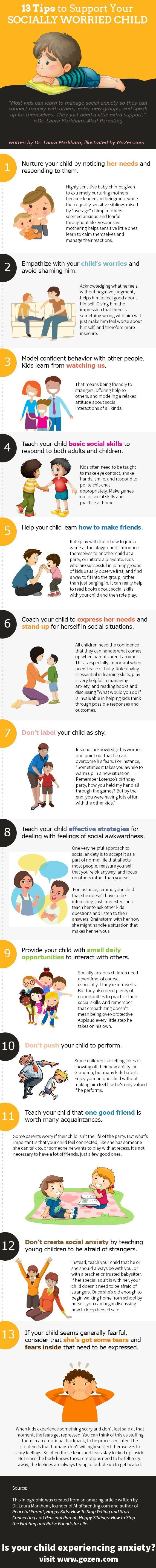 Most kids can learn to manage social anxiety so they can connect happily with others, enter new groups, and speak up for themselves–they just need a little extra support. As parents, what can we do to help? Check out these 13 expert tips! //...