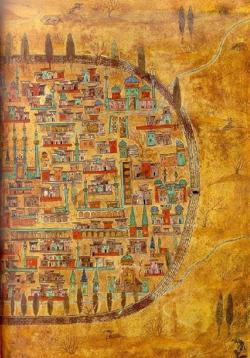 Plan of Tabriz, a city in Iran. The painting is kept in the Istanbul University Library. Date 16th century: