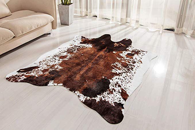 Amazon Com Nativeskins Faux Cowhide Rug Large 4 6ft X 6 6ft Cow Print Area Rug For A Western Boho Decor In 2020 Faux Cowhide Rug Cow Print Area Rug Cow Hide Rug