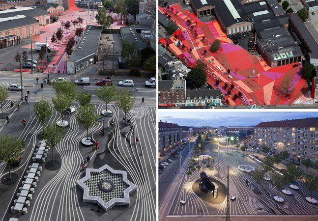 """Localizado bem no meio de Nørrebro, um dos 10 distritos da capital da Dinamarca, Copenhague, o parque urbano Superkilen definitivamente não é do tipo que se encontra em qualquer vizinhança. Com 30 mil metros quadrados, o parque público é um experimento artístico do grupo de artistas dinamarquês Superflexem conjunto com o BIG - Bjarke Ingels Groupe com a empresa de arquitetura alemã especializada em paisagem Topotek1. Ele é dividido em 3 áreas: a """"praça vermelha"""", toda pintada de vermelho…"""