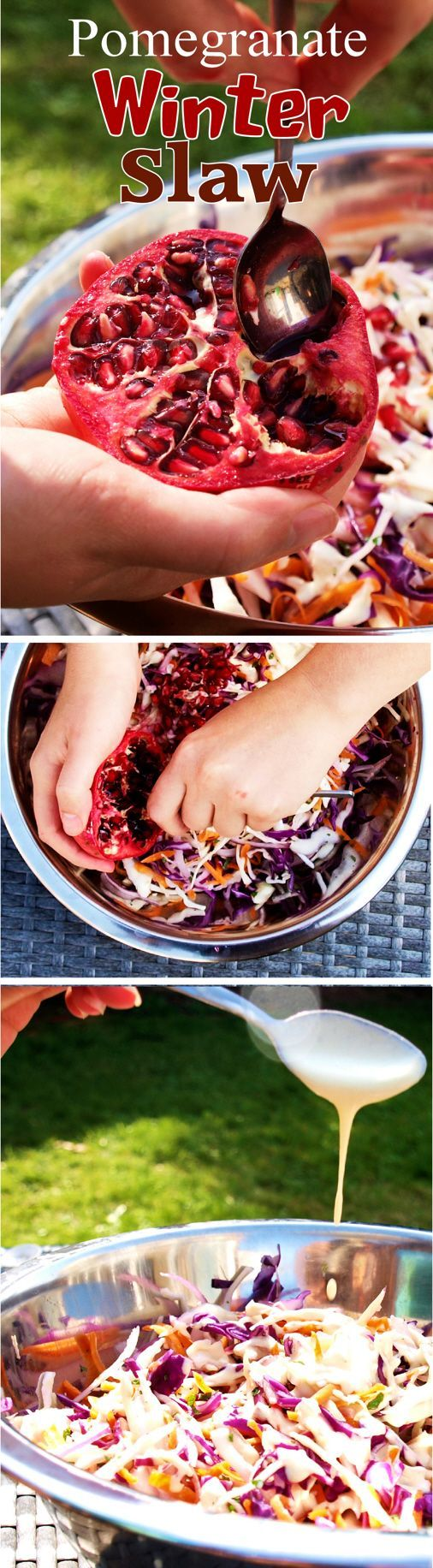 A very easy Winter Slaw recipe, with Pomegranate!