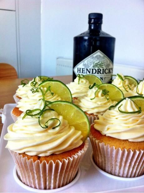 Gin and Tonic cup cakes!     175g unsalted butter softened     175g golden caster sugar     175g self raising flour     3 medium eggs     4 tbsp tonic water      2tbsp gin  For the icing     250g unsalted butter softened     500g icing sugar     Juice of one lime     4tbsp gin To decorate; Zest of one lime,1 lime halved and thinly sliced